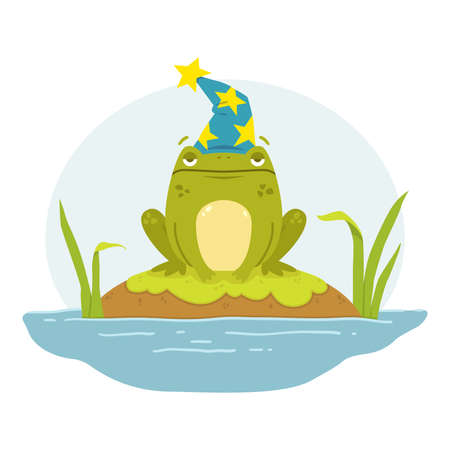 A frog in a swamp in a wizard's hat. Toad  Merlin. Cute flat hand drawn character. Illustration for fairytales book. Vector illustration isolated on white background. Stock Illustratie