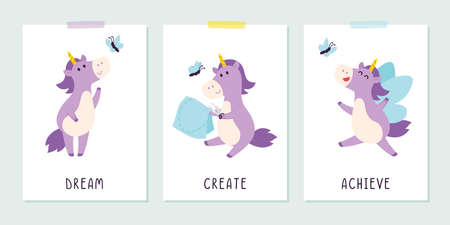 Cute purple unicorn with butterfly in the childish style. Positive inspirational saying for posters and cards. Dream, create, achieve banner, t-shirt print design. Flat vector illustration.
