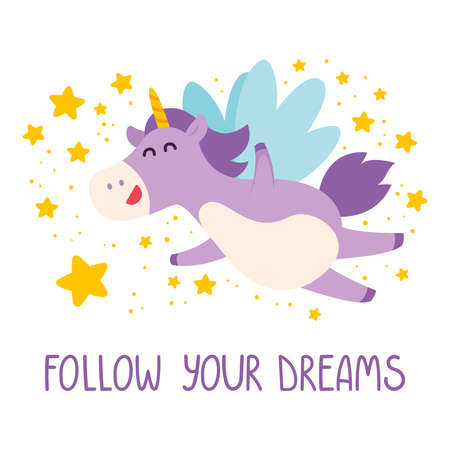 Cute unicorn flies in the starry sky. Follow your dreams card, poster, banner, t-shirt design. Magical purple plump unicorn with violet mane and falling stars. Vector illustration.