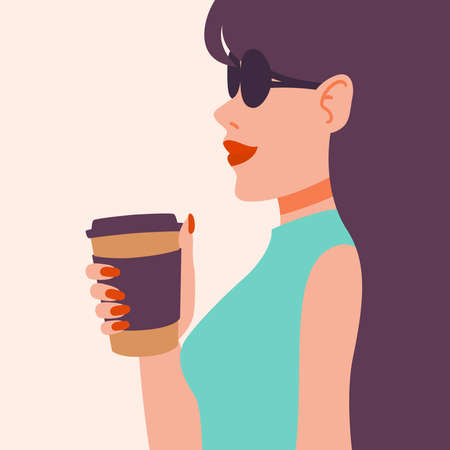 Girl drinking coffee. Beautiful young woman enjoying a drink. Lady with long dark hair in sunglasses, red manicure, red lipstick, cup. Vector illustration. Pop art fashion.