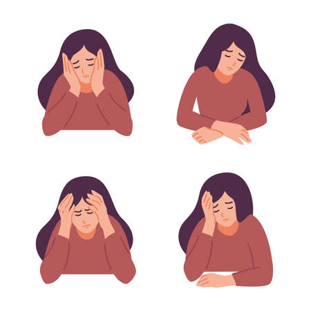 A woman is having a headache. Girl feels anxiety and depression. Psychological health concept. Nervous, apathy, sadness, sorrow, unhappy, desperate, migraine. Flat vector illustration.