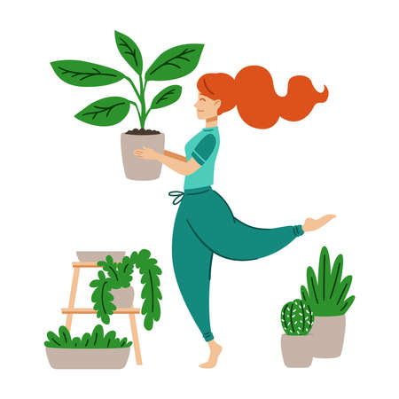 Red haired girl dancing with a flower pot in her hands. A woman takes care of houseplant. Crazy plant lady. Work at home. Modern vector illustration in flat cartoon style. Stock Illustratie