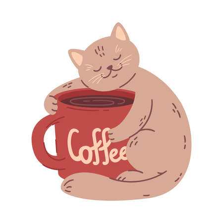 Cat hugs a big coffee cup. Vector illustration for coffee houses. Isolated on white background. Can be used for menu, logo or flyer, greeting card, design t-shirt, print or poster.