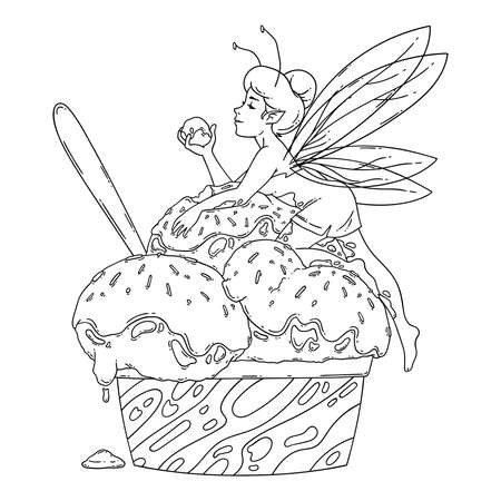 Beautiful fairy lies on balls of ice cream. Outline black and white art. Food art, summer refreshing concept, traditional seasonal cold sweets. Coloring page. Fairytale vector illustration. Stock Illustratie