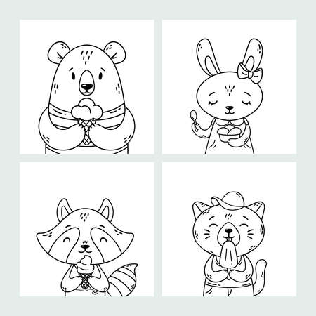 Set of cute funny cartoon summer animals. Bear, rabbit, raccoon and cat eating ice cream, licking , cone. Vector outline hand drawn illustration. Coloring pages. Black and white art. Stock Illustratie