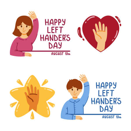 Happy international left handers day. August 13. Set of elements for greeting card. Hand in the star and heart. Vector flat illustration. Boy and girl are sitting with one hand raised. Lefty friend.