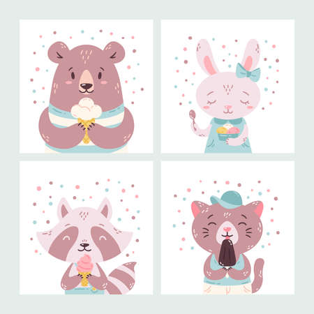 Set of cute funny cartoon summer animals. Bear, rabbit, raccoon and cat eating ice cream, licking , cone. Vector flat hand drawn illustration. Concept for children print. Isolated objects.