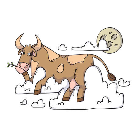 Cow resting on the clouds and looking at the moon. Relax and dreaming. Funny, humor, cartoon animal illustration.