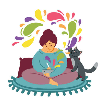 Girl draws on a tablet. The cat plays on the carpet. Woman cozily spends time at favorite job. Freelancer designer, work from home. Computer or digital art. Get creative. Flat vector illustration. Stock Illustratie