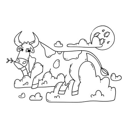 Cow resting on the clouds and looking at the moon. Relax and dreaming. Funny, humor, cartoon animal illustration. Outline, black and white illustration for coloring page.