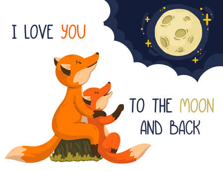 Two foxes are looking at the moon in the clouds. Cartoon forest animals parent with baby. Mother's Day and Father's Day card. Vector illustration on white background. I love you to the moon and back.