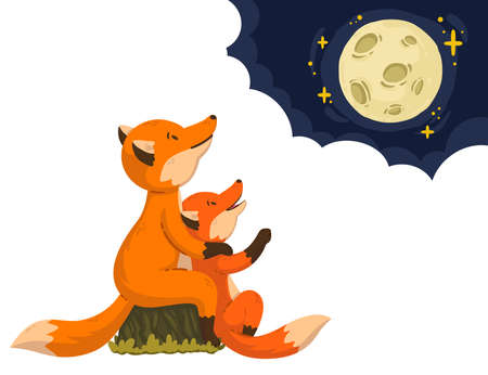 Two foxes are looking at the moon in the clouds. Cartoon forest animals parent with baby. Mother's Day and Father's Day card. Vector illustration isolated on white background. Art for children book. Stock Illustratie
