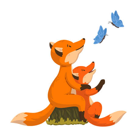 Two foxes are looking at the butterflies. Cartoon forest animals parent with baby. Mother's and Father's Day card. Vector illustration isolated on white background. For poster, banner, t-shirt print.