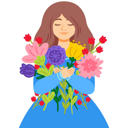 Woman in a blue dress with a bouquet of flowers. Mother's Day. 8 March International womens day greeting card concept. Vector illustration isolated on white background.