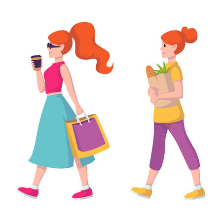 Red-haired lady in sunglasses and with coffee in hand goes to buy clothes. Shopping girl. Ginger hair woman carries a paper bag with groceries from the grocery store.