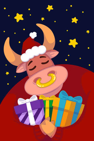 Bull in a santa hat and a red sweater with gifts against the background of the starry sky. Year of the ox. Happy Cow. New year and merry christmas illustration. Chinese zodiac symbol of the year 2021.