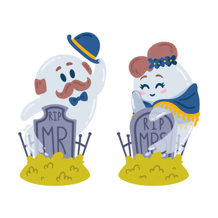 Halloween characters. Ghosts and gravestones. Love story in the cemetery. Two spirits Mr and Mrs meet at their tombstones. Rest in peace. 31 october. Vector illustration isolated on white background. 矢量图像