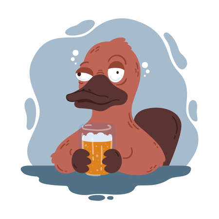 Drunk platypus with a glass of beer. Funny duckbill in the pub. Australian wildlife. Vector cartoon illustration isolated on white background.