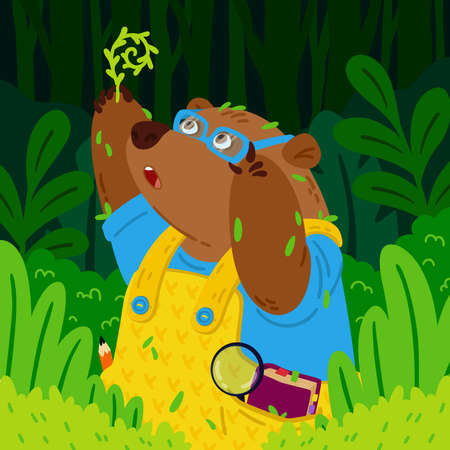 Cute bear botanist in glasses, explores new plants. Gardening grizzly. Animal in the forest. Vector children illustration for kids books and nursery poster.