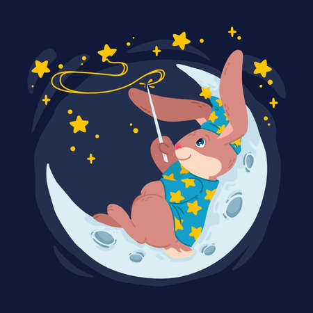 Rabbit magician with magic wand make stars on the sky lying down on the moon. Bunny wizard in witch hat sit on the crescent. Vector children illustration for kids books, nursery poster and clothes.