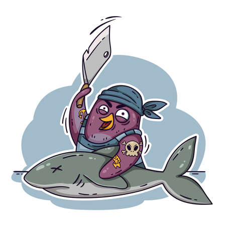 Crazy pirate penguin cuts a shark with a cleaver. Cook on the ship cooking fish. Funny bird vector illustration isolated on white background in doodle style.
