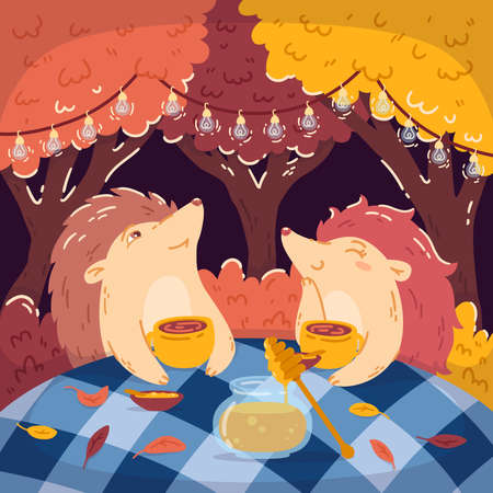 Hedgehogs tea party in the autumn forest, with a jar of honey. Glowing garlands hang on the trees. Children's vector illustrations for books, posters, and postcards. Woodland background. 矢量图像