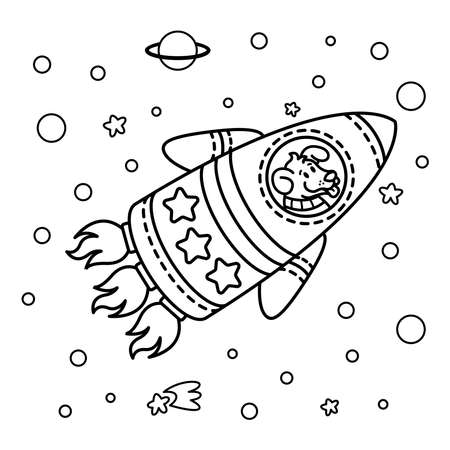 Dog in a rocket spaceship. Star galaxy. Cute cosmonaut dog in outer space. Vector illustration on the space theme in childish style. Picture for coloring book. 矢量图像