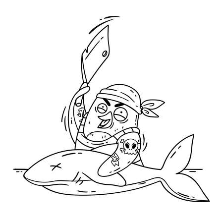 Crazy pirate penguin cuts a shark with a cleaver. Cook on the ship cooking fish. Funny bird vector illustration isolated on white background in doodle style. Picture for coloring page.