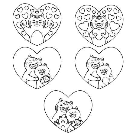Cats family mother, father, child and newborn baby hug in heart. Tomcat hugs a heart. Set of lovely elements. Vector illustration isolated on white background. Outline picture for coloring page. 矢量图像