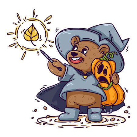 Magician bear in witch hat, raincoat and boots, hugs Halloween shocked pumpkin. The wizard casts spell with magic wand. Funny kid's vector illustration isolated on white background, for poster, card.