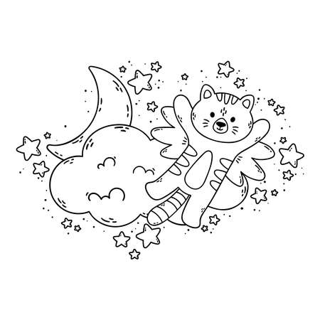 Cat with wings flies past the cloud, the moon, and stars. Vector illustration for coloring book isolated on white background. Good night nursery picture. 矢量图像