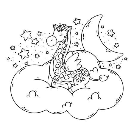 Cute poster with giraffe, moon, stars, cloud on a dark background. Vector illustration for coloring book isolated on white background. Good night nursery picture.