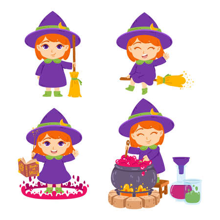 Cute little redhead witch with broom, hat, book of spells, magic wand and pot. The sorceress is brewing potions. Set of elements for Halloween. Vector illustration isolated on white background. Vektorgrafik
