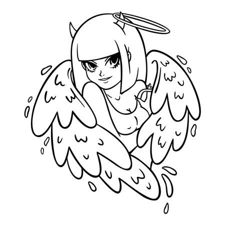 Beautiful woman with wings, horns and nimbus. Angel and demon, good and evil. Attractive succubus in a tank top. Modern vector illustration for clothing prints, tattoo designs, greeting cards.