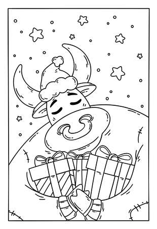 Bull in a santa hat and sweater with gifts. Year of the ox. Happy Cow. New year and merry christmas illustration. Chinese zodiac symbol of the year 2021. Coloring page for children book. 矢量图像