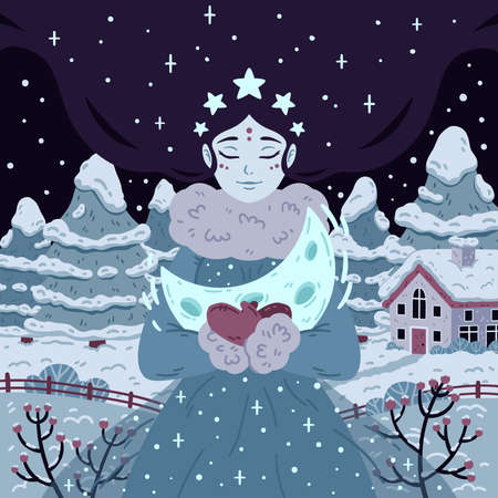 Princess of starry winter night with crescent. Beautiful woman with long hair on background with trees and house. Vector illustration for poster, greeting cards. Picture for children fairy tale book.