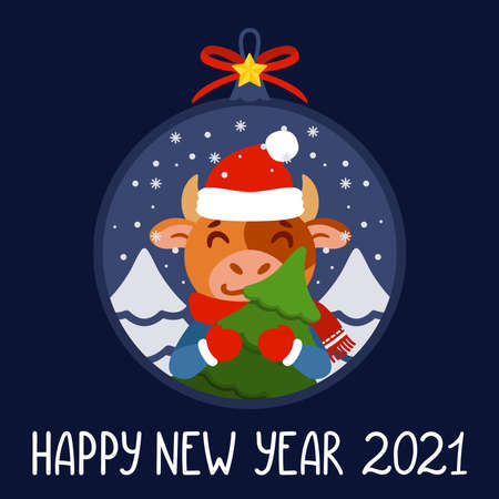 Christmas ball with image bull with tree. Ox with fir tree. Symbol of the Chinese New Year 2021. Xmas greeting card, poster design. Vector illustration with cute character. Hand drawn lettering quote.