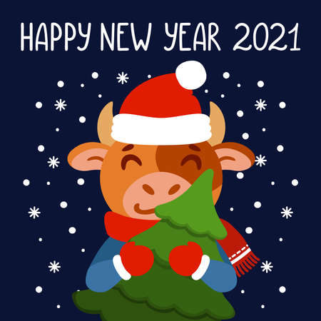 Bull with tree. Ox with fir tree. Symbol of the Chinese New Year 2021. Xmas greeting card, poster design. Vector illustration with cute character. Hand drawn lettering quote. 矢量图像