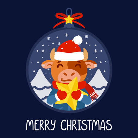 Christmas ball with the image of bull holding a yellow star. The symbol of the Chinese New Year 2021. Greeting card with ox for the New Year and Christmas. Vector illustration. 矢量图像