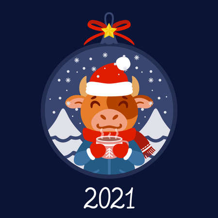 Christmas ball with the image of bull with cup tea. Ox in winter wear with a cocoa standing in snow. Greeting card for the New Year and Christmas 2021. Vector illustration. Scandinavian style.