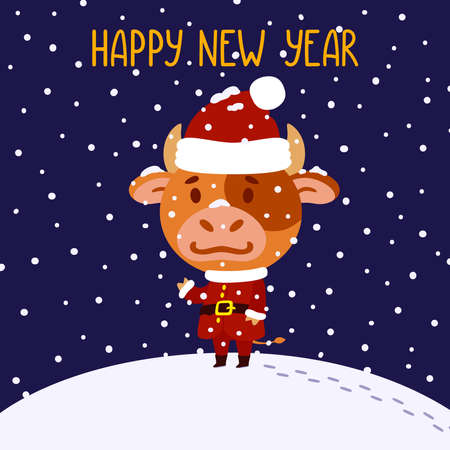 Cute little bull in santa claus costume. Ox symbol of the Chinese New Year 2021. Merry Christmas and Happy new year greeting card, poster design. Vector illustration isolated background. 矢量图像