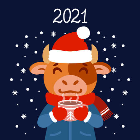 The bull with a cup of tea in winter wear. Ox with a cocoa standing in snow. The symbol of the Chinese New Year 2021. Greeting card with a mouse for the New Year and Christmas. 矢量图像