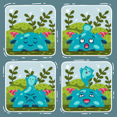 Comic about the swamp monster and the miracle of birth. Vector illustration isolated background. 矢量图像