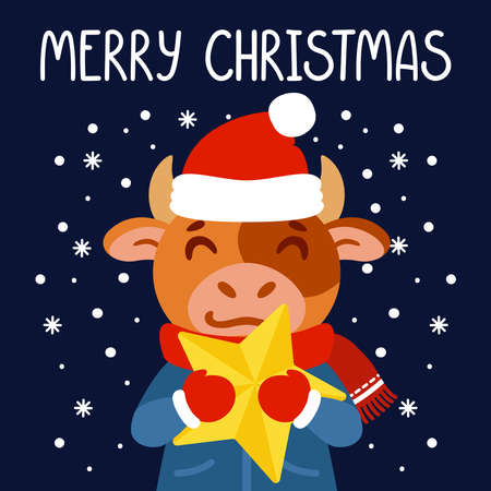 Bull with a yellow star. Ox symbol of the Chinese New Year 2021. Merry Christmas greeting card, poster design. Vector illustration with cute character isolated background. Hand drawn lettering quote.