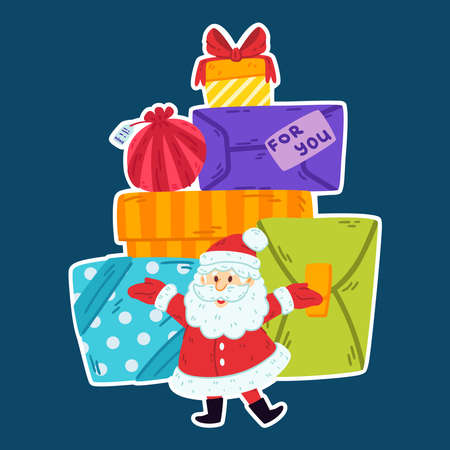Santa claus with a mountain of gifts. Merry Christmas and Happy new year greeting card, poster design. Vector illustration isolated background. Ded Moroz. Decorative elements.