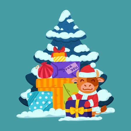 Cute little bull in santa claus costume with tree and presents. Ox symbol of the Chinese New Year 2021. Merry Christmas and Happy new year greeting card, poster design. Vector illustration. 矢量图像