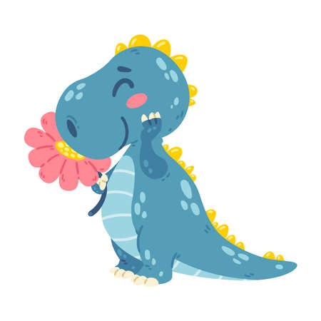 Cute little dinosaur sniffs a flower. Dragon with a plant. Character for the design of posters, postcards and clothing. Picture for kid. Vector illustration isolated white background.