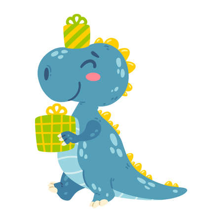 Cute little dinosaur carries gifts. Dragon goes to the happy birthday party with presents. Character for the design of posters, postcards, clothing. Picture for kid. Isolated vector illustration.