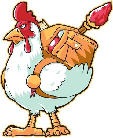 diehard: White Chicken Courier Mascot Illustration