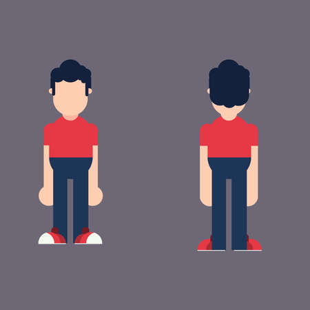 Character Perspective Front Behind Flat design Illustration Vector